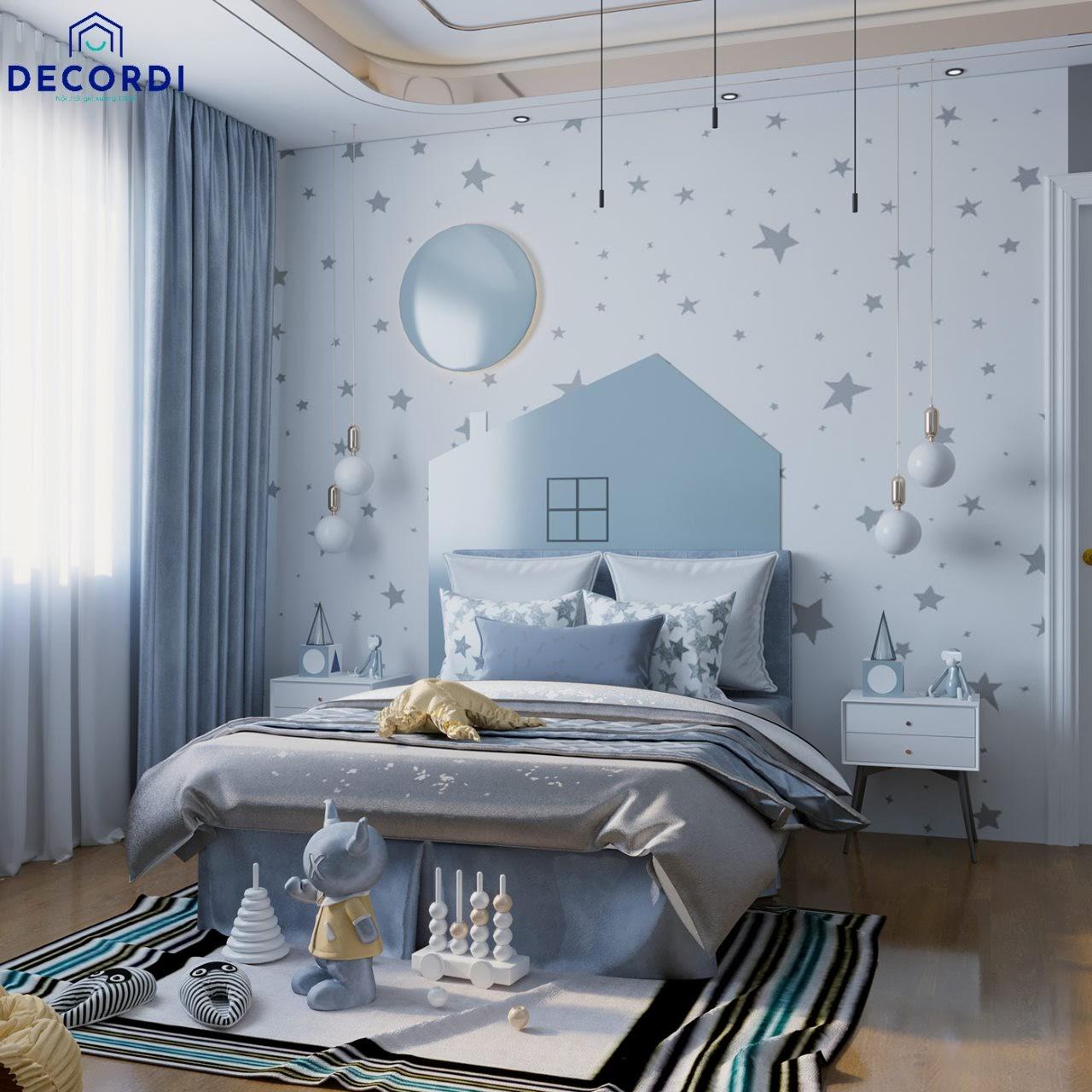 Mẫu phòng ngủ màu xanh dương đẹp